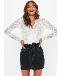 Missguided Black Contrast Stitch Paperbag Waist Denim Skirt