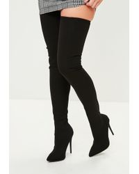 Missguided - Black Pointed Stretch Thigh High Boots - Lyst