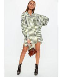 Missguided - Khaki Stripe Drop Back Oversized Shirt Dress - Lyst