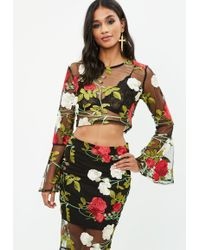 Missguided - Black Embroidered Mesh Crop Top - Lyst