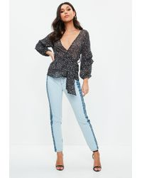 Missguided - Blue Riot Highrise Two Tone Mom Jeans - Lyst