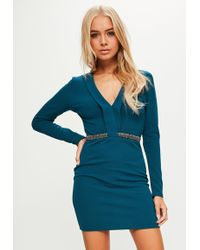 Missguided - Blue Stretch Crepe Plunge Beaded Trim Bodycon Dress - Lyst
