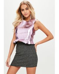 Missguided - Pink Faux Leather Metallic Sleeveless Crop Top - Lyst