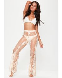 Missguided - Premium Nude Eyelash Lace Beach Trousers - Lyst