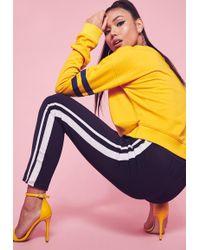 Missguided | Yellow Drop Shoulder Stripe Arm Band Sweatshirt | Lyst