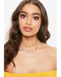 Missguided - Gold Rainbow Charm Choker Necklace - Lyst