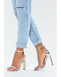 Missguided - Silver Illusion Heel Barely There Pu Heels - Lyst