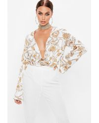 Missguided - White Plunge Flared Sleeve Chain Print Bodysuit - Lyst