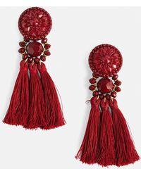 Missguided - Wine Art Deco Tassel Earrings - Lyst