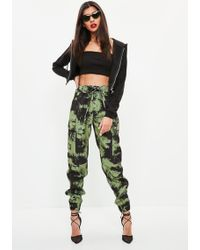 Missguided - Khaki Blurred Camo Printed Trousers - Lyst