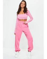 Missguided - Pink 80's Brushback Joggers - Lyst