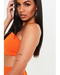 Missguided - Gold Look Snake Arm Cuff - Lyst