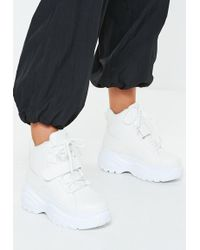 Missguided - White Super Chunky Sole Utility Sneaker Boots - Lyst
