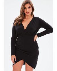 6b2b95d5ff5d Missguided Plus Size Black Satin Thigh Split Mini Dress in Black - Lyst