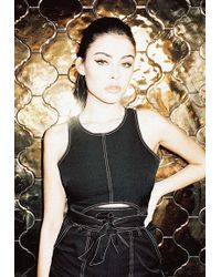 Missguided - Madison Beer X Black Contrast Stitch Crop Top - Lyst