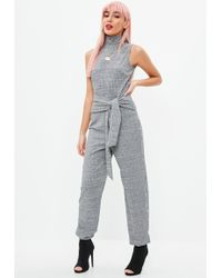 Missguided   Grey Marl High Neck Jogger Jumpsuit   Lyst