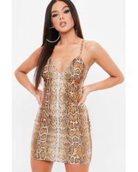 Missguided - Madison Beer X Brown Strappy Bodycon Snake Dress - Lyst