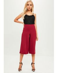 Missguided - Burgundy Crepe Culottes - Lyst