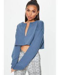 Missguided - Slate Grey Inserted Zip Front Crop Sweatshirt - Lyst
