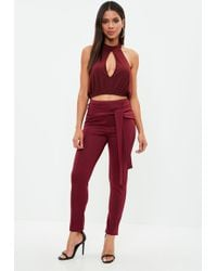 Missguided - Burgundy Tie Front Cigarette Trousers - Lyst