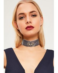 Missguided - Grey Jewelled Velvet Choker Necklace - Lyst