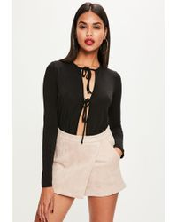 Missguided - Bonded Faux Suede Skort Nude - Lyst