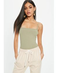 Missguided | Khaki Square Neck Ribbed Bodysuit | Lyst