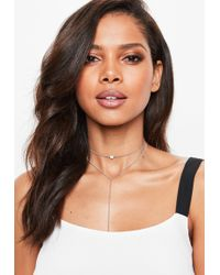 Missguided - Silver Look Diamante Multirow Choker Necklace - Lyst