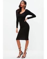 Missguided - Black Long Sleeve Midi Dress - Lyst