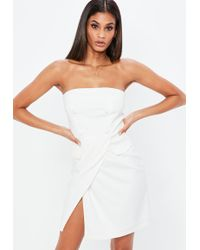 Missguided - Nabilla X White Crepe Bandeau Fold Over Bodycon Dress - Lyst