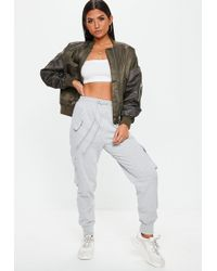 Missguided - Grey Utility Pocket Cargo Joggers - Lyst