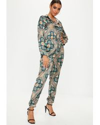 Missguided - Tile Printed Satin Boiler Suit - Lyst