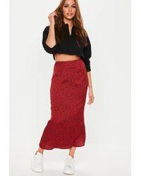 Missguided - Red Printed Polka Dot Midi Slip Skirt - Lyst