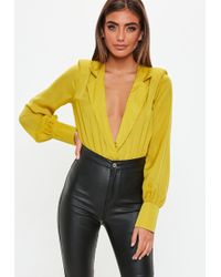 3fa3ed9707 Lyst - Missguided Mustard Deep Plunge Bodysuit in Yellow