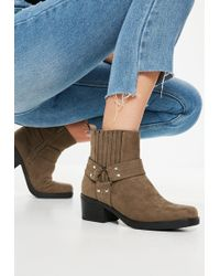 Missguided - Khaki Faux Suede Square Toe Heeled Ankle Boots - Lyst