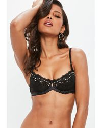 Missguided - Black Embellished Underwired Lace Bra - Lyst