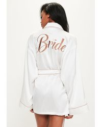 Missguided - White Satin Embroidered Piped Robe - Lyst