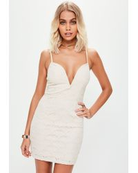 Missguided - Nude Strappy V Bar Lace Plunge Bodycon Dress - Lyst
