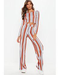 268e229d9b73 Missguided - Orange Stripe Keyhole Crop Wide Trousers Co Ord - Lyst