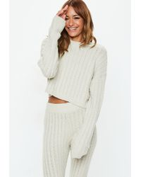 Missguided - Cream Co Ord Cable Knitted Joggers - Lyst