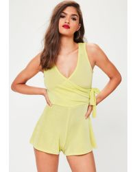 Missguided | Yellow Tie Side Slinky Romper | Lyst