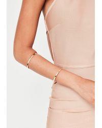 Missguided - Gold Metal Bar Arm Cuff - Lyst