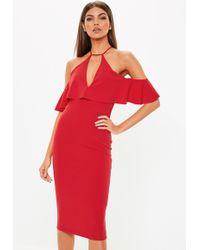 7e5a576ce253 Missguided - Red Cami Cold Shoulder Bodycon Midi Dress - Lyst