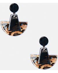 Missguided - Tortoise Shell Half Moon Earrings - Lyst