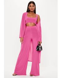 Missguided - Pink 3 Piece Slinky Wide Leg Co Ord - Lyst