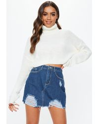 Missguided - Blue Ripped Denim Micro Mini Skirt - Lyst