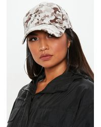 Missguided - Stone Camo Print Cap - Lyst