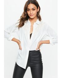 Missguided - White Double Fringe Yoke Chiffon Shirt - Lyst