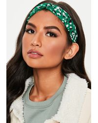 Missguided - Green Leopard Print Headband - Lyst