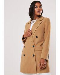 Missguided Camel Oversized Double Breasted Coat - Natural